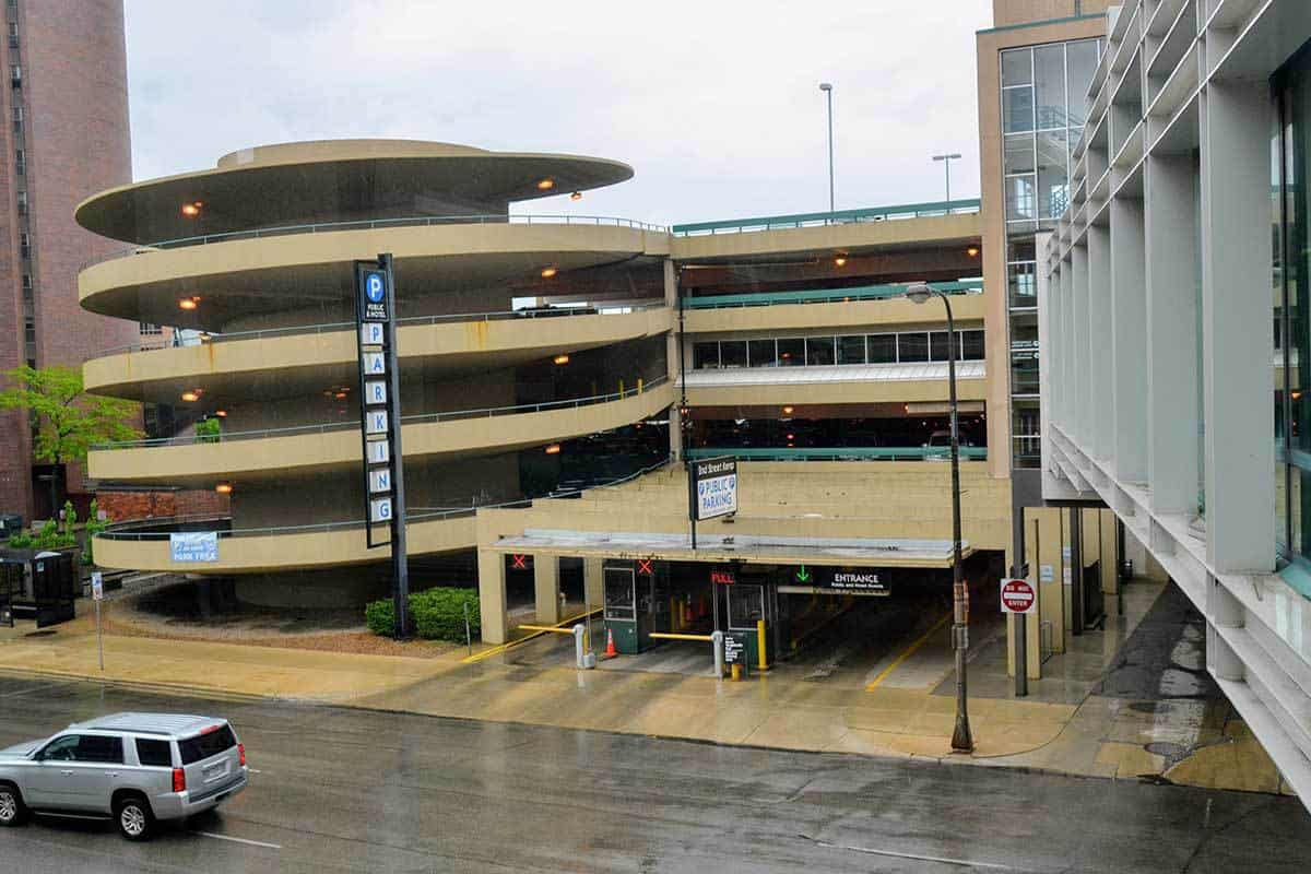 Parking Adjacent to 206 South Broadway Building and Skyway System