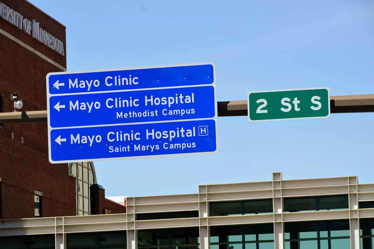 Mayo Clinic Directional Signs Outside 206 South Broadway Building