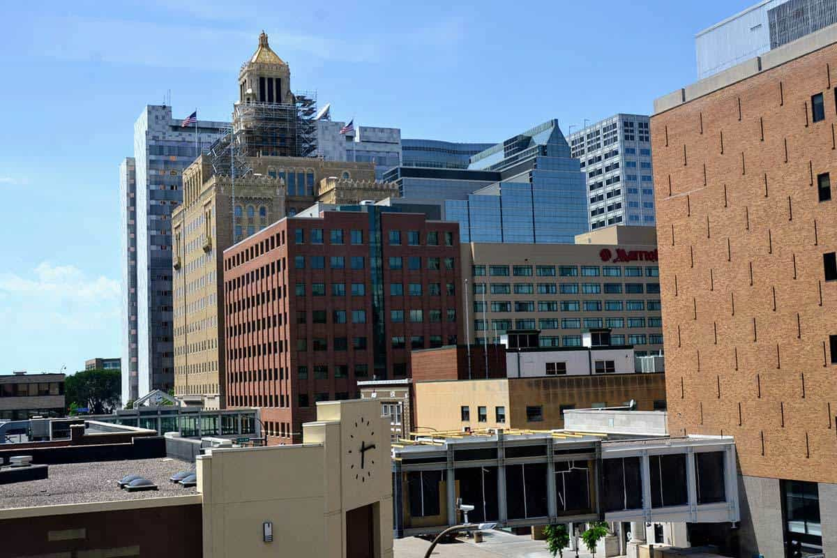 Downtown Rochester view from 206 South Broadway Building of Mayo Clinic and Hotels