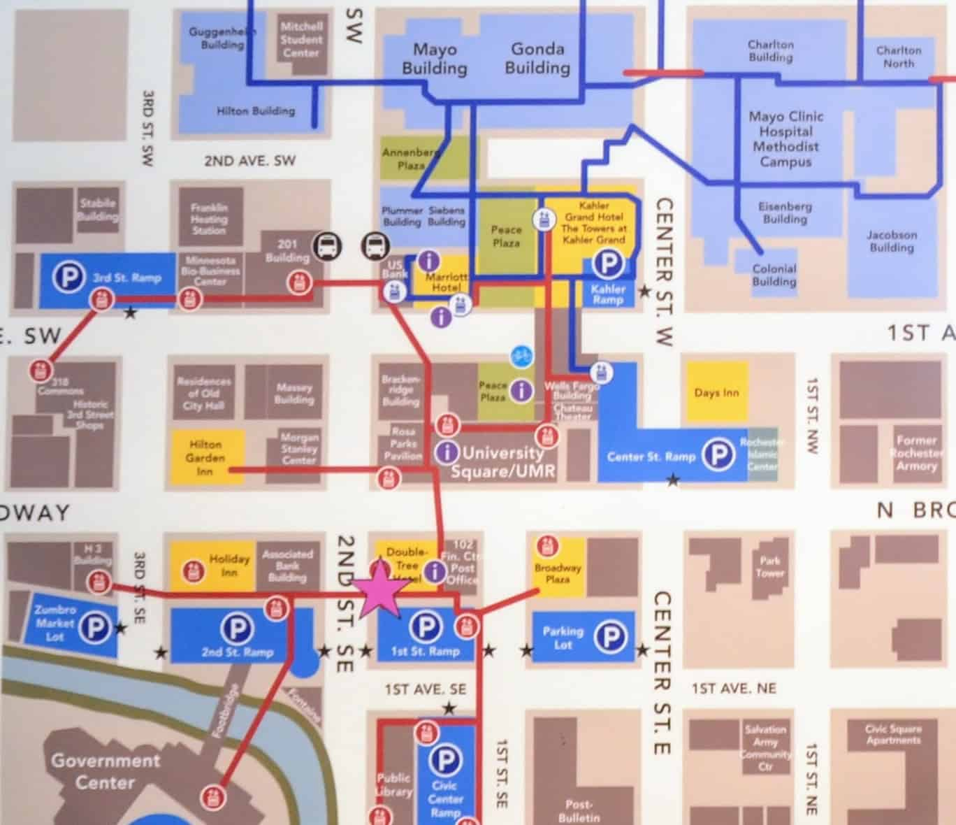 Downtown Rochester Map with Skyway and Subway Access